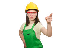 Woman wearing hard hat Stock Photo