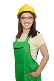 Woman wearing hard hat Stock Photography