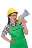 Woman wearing hard hat with loudspeaker Royalty Free Stock Image