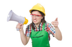 Woman wearing hard hat with loudspeaker Stock Photo