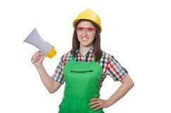 Woman wearing hard hat with loudspeaker Stock Photos