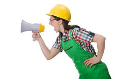 Woman wearing hard hat with loudspeaker Royalty Free Stock Photo