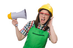 Woman wearing hard hat with loudspeaker Stock Photography