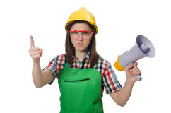 Woman wearing hard hat with loudspeaker Stock Images