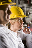Woman wearing hard hat with male coworker Stock Image
