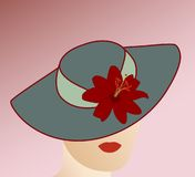 Woman wearing hat. An illustration of a woman wearing a teal hat with a red flower on it. Most of her face is hidden by the hat. There is a pink gradient Stock Photography