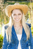 Woman wearing a hat stock image