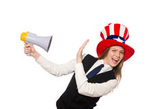 The woman wearing hat with american symbols Stock Image