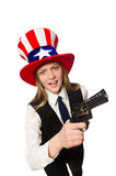 The woman wearing hat with american symbols Stock Photography