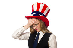 The woman wearing hat with american symbols. Woman wearing hat with american symbols Royalty Free Stock Images