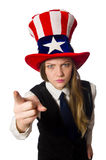 Woman wearing hat with american symbols Stock Photo