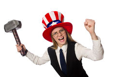 Woman wearing hat with american symbols Royalty Free Stock Photos