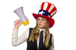 Woman wearing hat with american symbols Stock Image