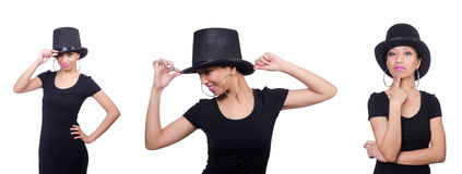 The woman wearing hat isolated on white Royalty Free Stock Photography