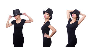 The woman wearing hat isolated on white Stock Photography