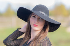 Woman wearing a hat Royalty Free Stock Image