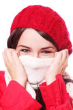 Woman wearing hat and scarf Stock Photos