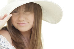 Woman wearing a hat and smiling Stock Images