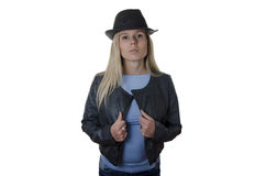 Woman wearing a hat on white background Royalty Free Stock Photo