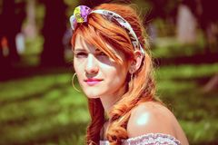 Woman Wearing Headband Royalty Free Stock Photos