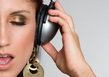Woman Wearing Headphones Royalty Free Stock Photos