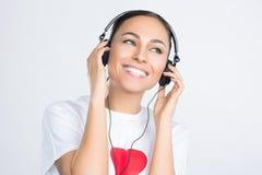Woman wearing Headphones Stock Photography