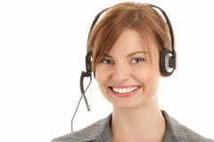 Woman wearing headset Royalty Free Stock Photos