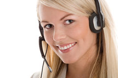 Woman wearing headset Royalty Free Stock Image