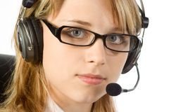 Woman wearing a Headset Royalty Free Stock Photo
