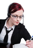 Woman wearing headset Stock Photo