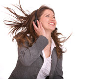 Woman wearing headset in suit. Isolated Stock Photography