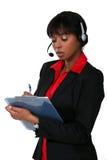 Woman wearing a headset Stock Photo