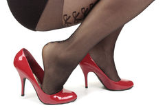 Woman  wearing  heel shoes & tights Royalty Free Stock Photo