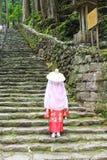 Woman wearing Heian period kimonos at Daimonzaka slopes Royalty Free Stock Images