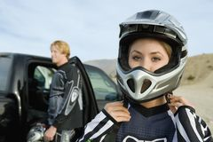 Woman Wearing Helmet Royalty Free Stock Photography