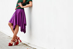 Woman wearing high heel shoes in city Stock Images