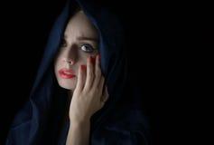 Woman wearing hijab. Young woman wearing hijab on black Stock Photo