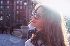 Woman Wearing Hippie Glasses Royalty Free Stock Photos