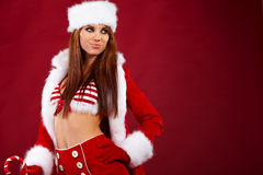 Woman wearing holiday clothes on r Royalty Free Stock Photo