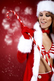 Woman wearing holiday clothes on r Royalty Free Stock Photography
