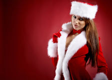 Woman wearing holiday clothes on r Stock Image