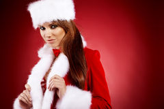 Woman wearing holiday clothes on r Royalty Free Stock Image