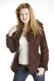 Woman wearing jacket Stock Photography