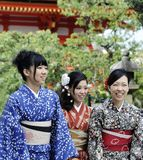 Woman wearing Japanese kimono. Kyoto, Japan-November 4, 2014;A group of one day geisha Japanese girls,walking in a temple complex.November 4, 2014 Kyoto,Japan Stock Images
