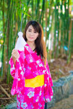Woman wearing japanese traditional Yukata Royalty Free Stock Images