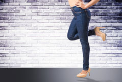 Woman wearing jean Royalty Free Stock Photography