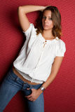 Woman Wearing Jeans royalty free stock image