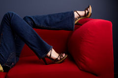 Woman wearing jeans and high heels. Stock Photography