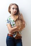 Woman wearing jeans and plaid shirt Stock Photo