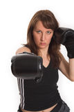 Woman wearing karate gloves Royalty Free Stock Image